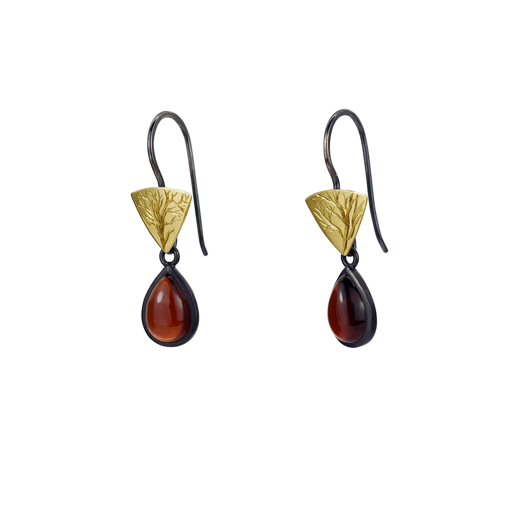 Gold and Silver Little Branch Earrings with Garnets