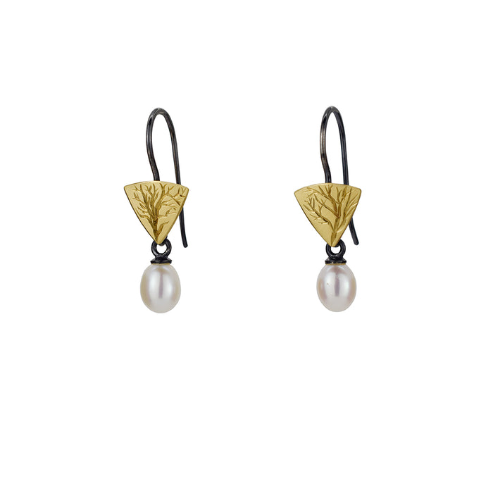 Gold and Silver Little Branch Earrings with Pearls