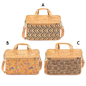 Natural cork Laptop Bag Briefcase with Pattern