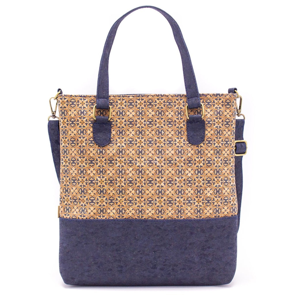 Natural Cork Tote bag with Blue Pattern
