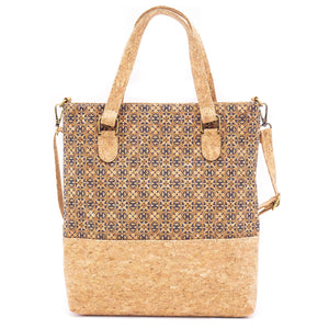 Vegan Natural Cork Women Handbag with Pattern Tote Bag