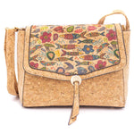 Natural Cork Crossbody Bag with Cute Pattern