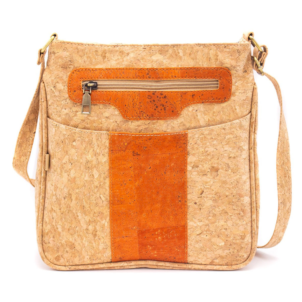 Eco friendly stylish brown orange blue color cross body bag