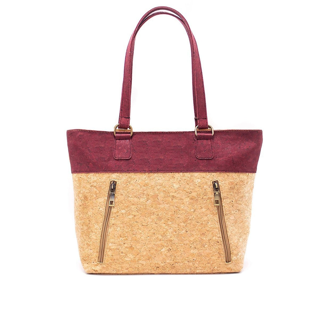 Cork with Color Charcoal style Zipper Handbag