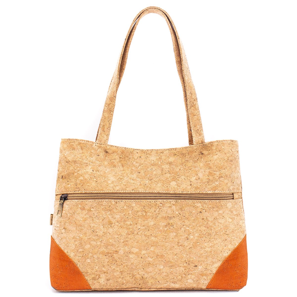 Natural Cork Handbag with Front Zipper Pocket