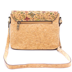 Natural Cork Crossbody Bag with Cute Flowers Pattern