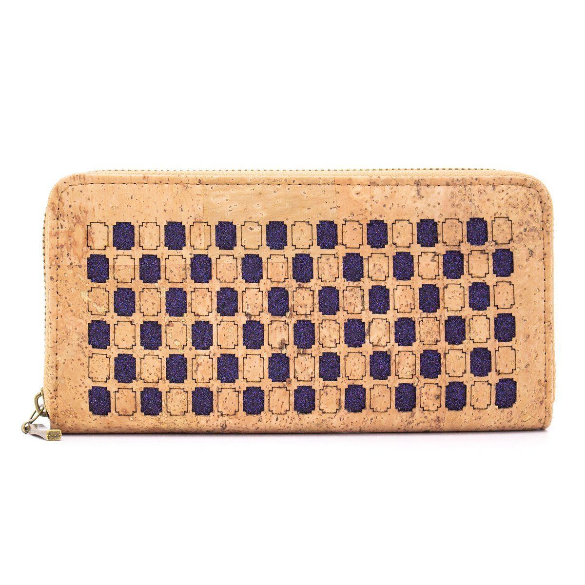 Natural cork Laser cut style women zipper card vegan wallet