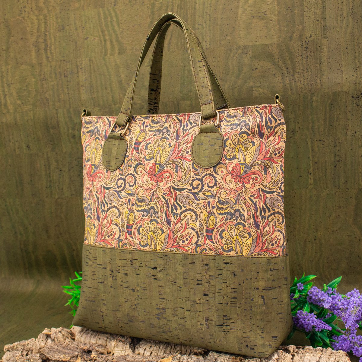 Natural Cork with pattern cork women handbag with strap