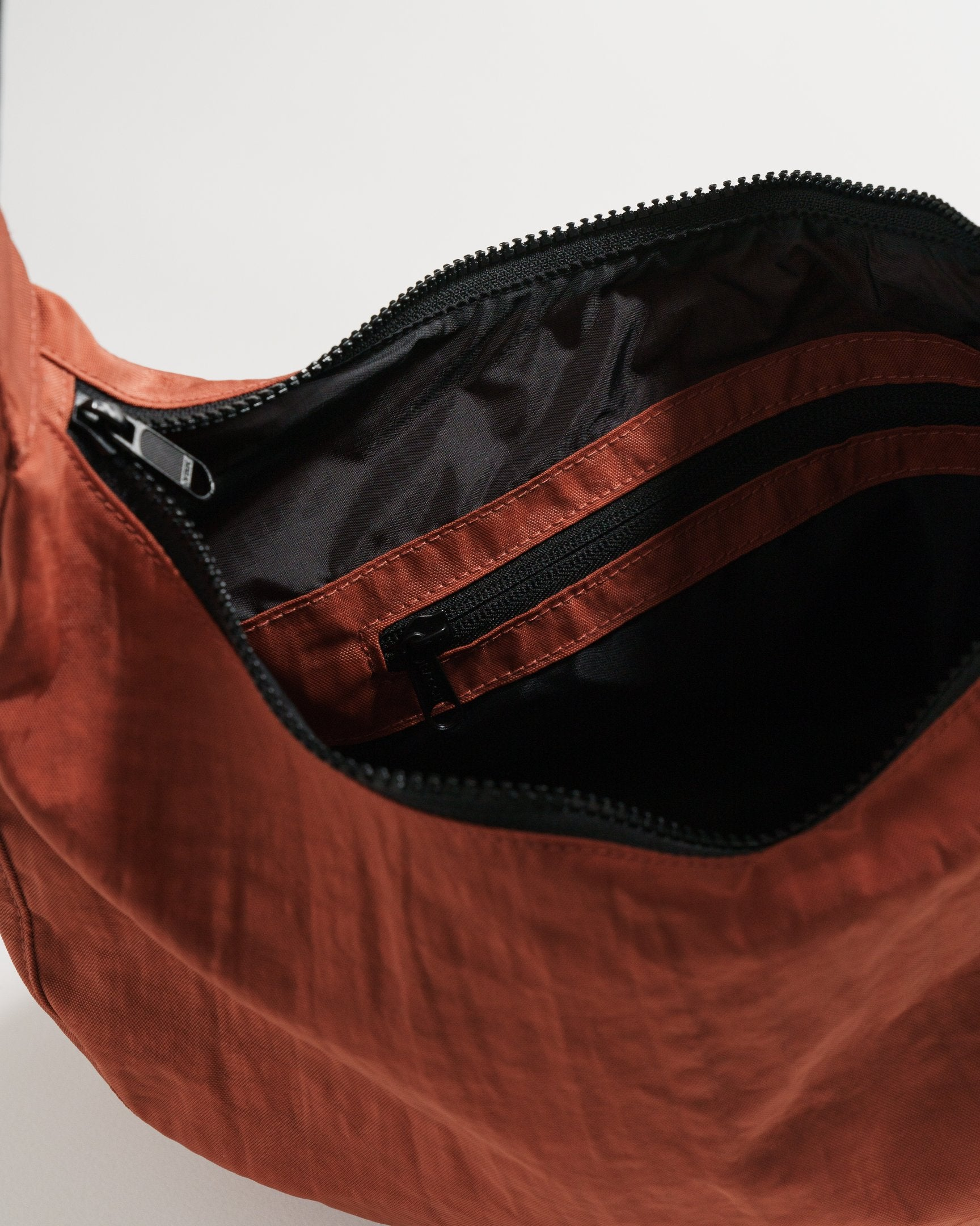 Medium Nylon Crescent Bag - Sienna