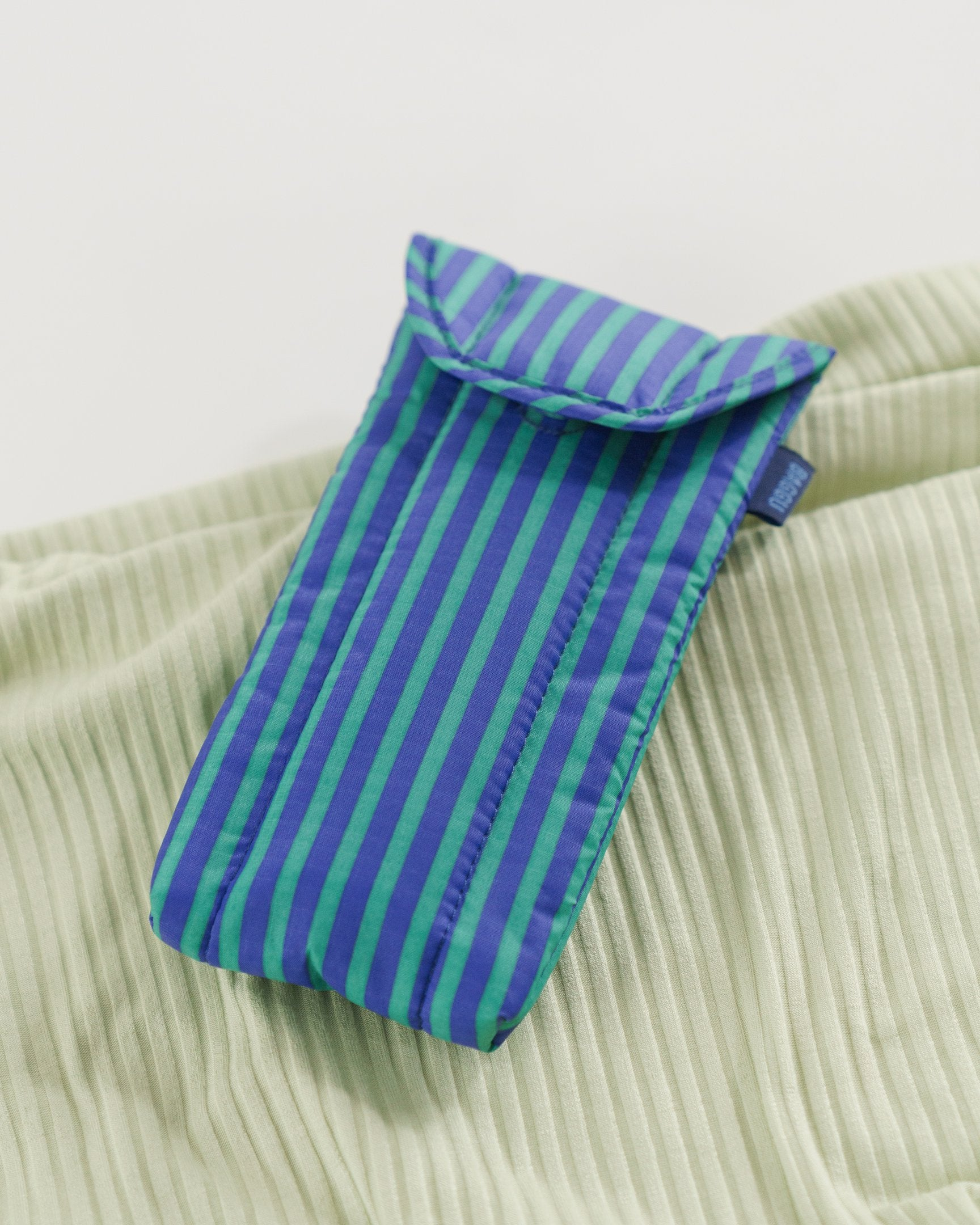 Puffy Glasses Sleeve (Cobalt and Jade Stripe)