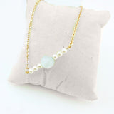Opal Pearls Bar Necklace