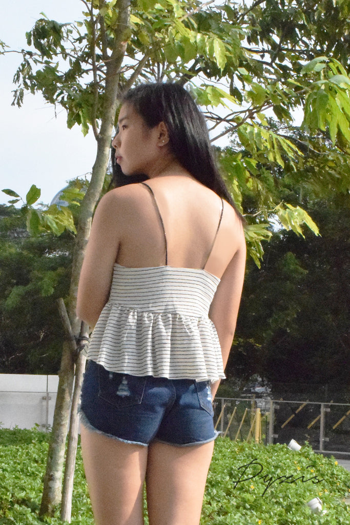 Emira Stripe And Straps Peplum Top