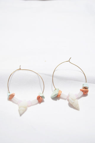Pradilla Scallop Seashell Bead Cascade Earrings