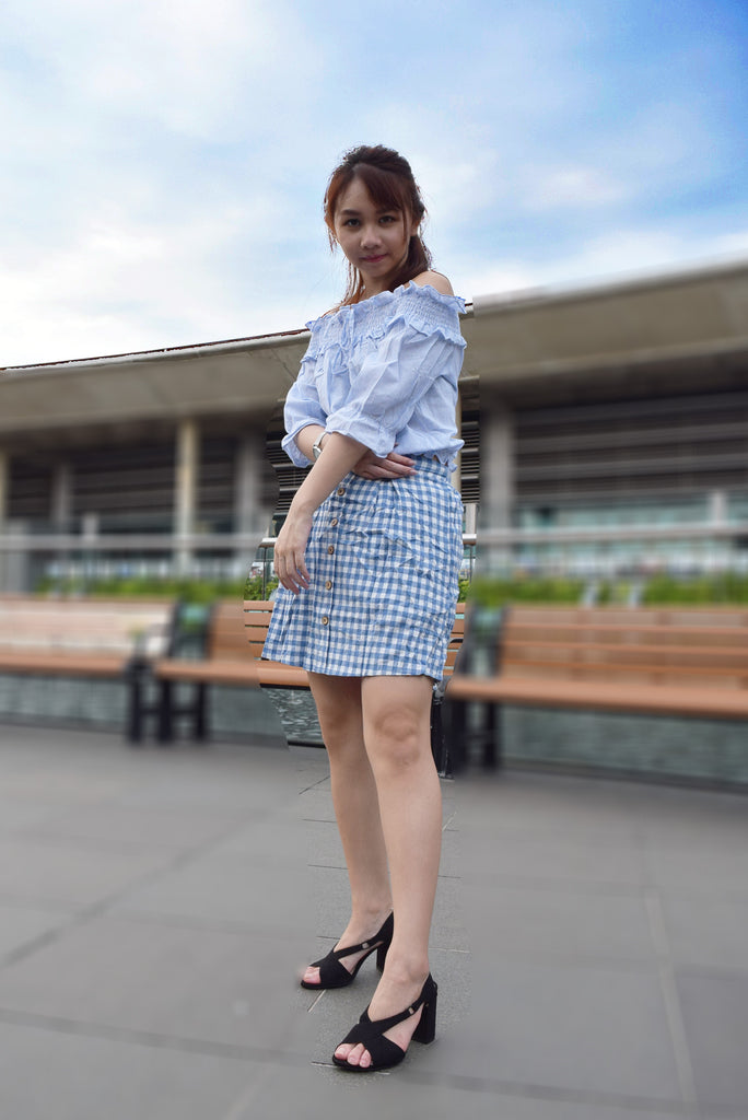 Maura Plaid Buttons Skirt
