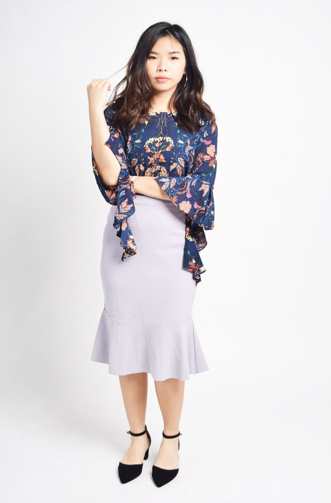 Kenze Navy Blue Florals Dropsleeves Top