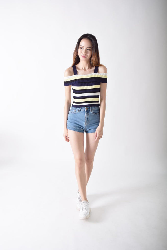 Kaylene On And Off Stripes Top