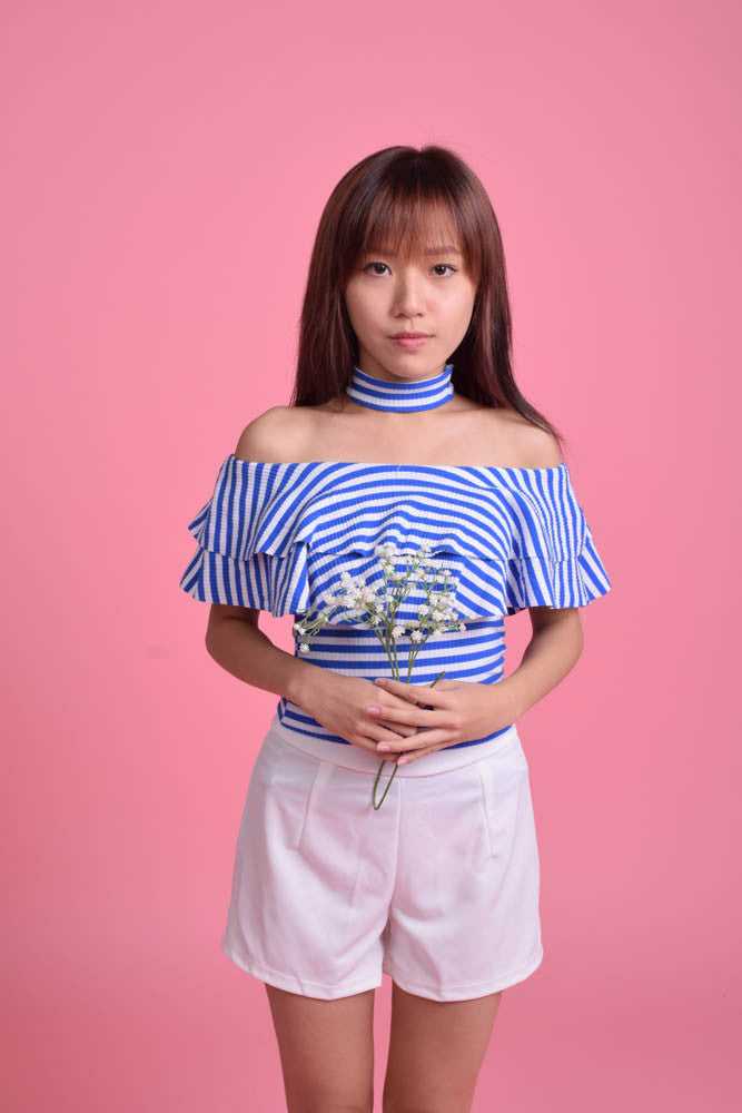 Zerelda Stripey Chokerband Offsie Top