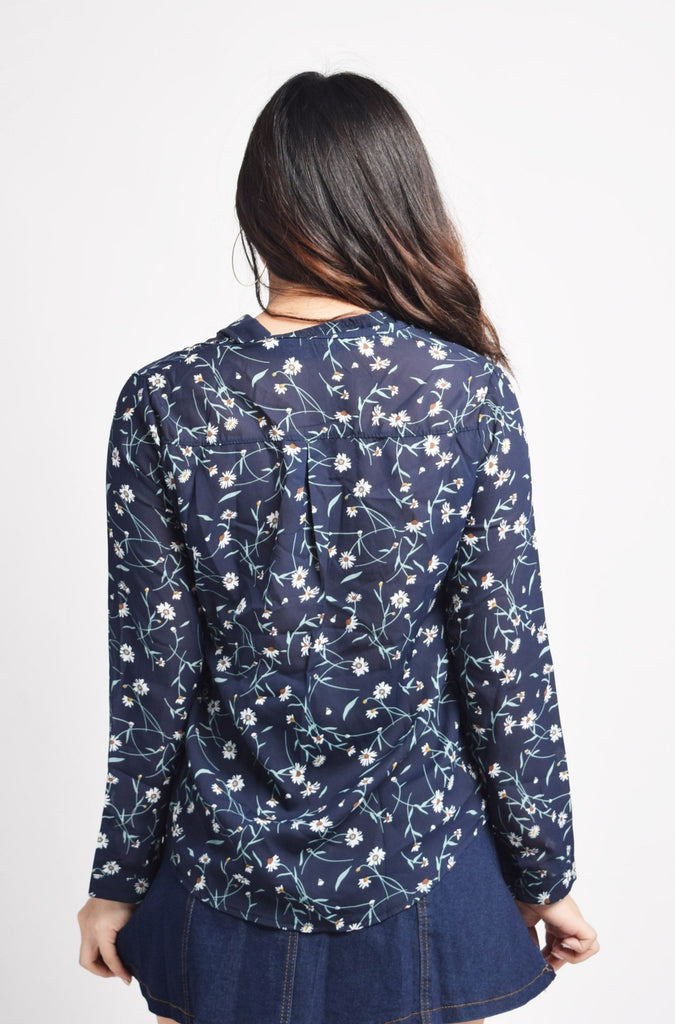 Korelene Dark Blue Floral Top