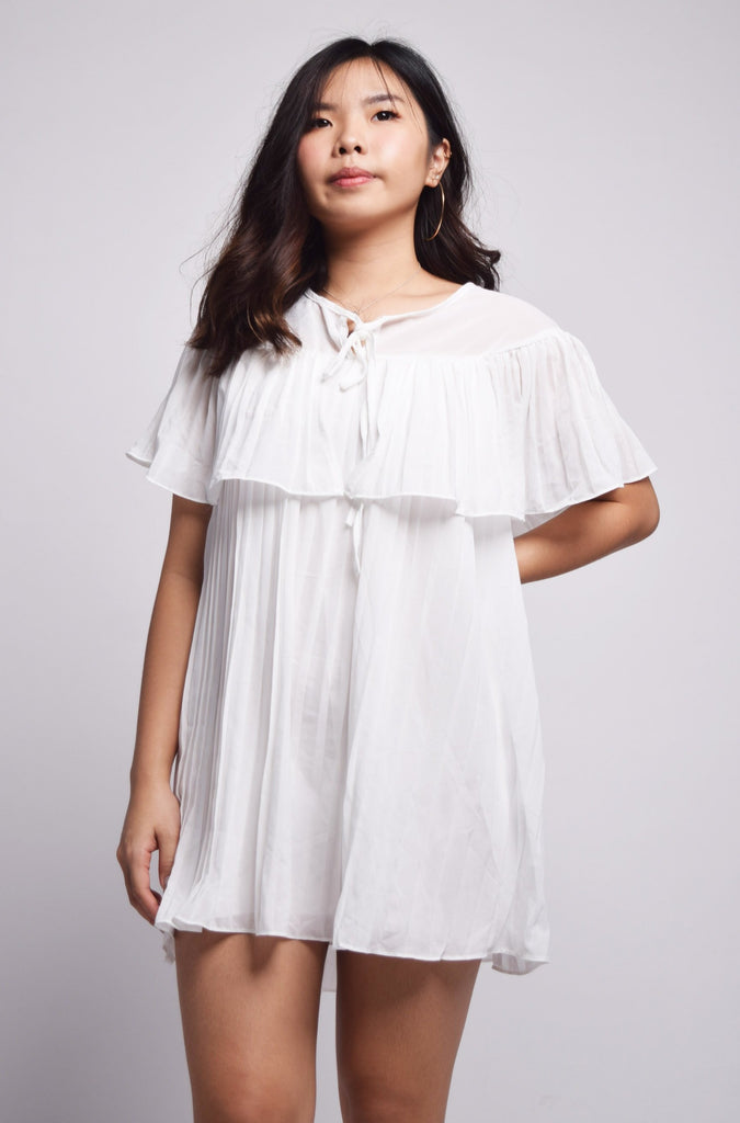 Positano Pleated Bodice Flare Drape Dress