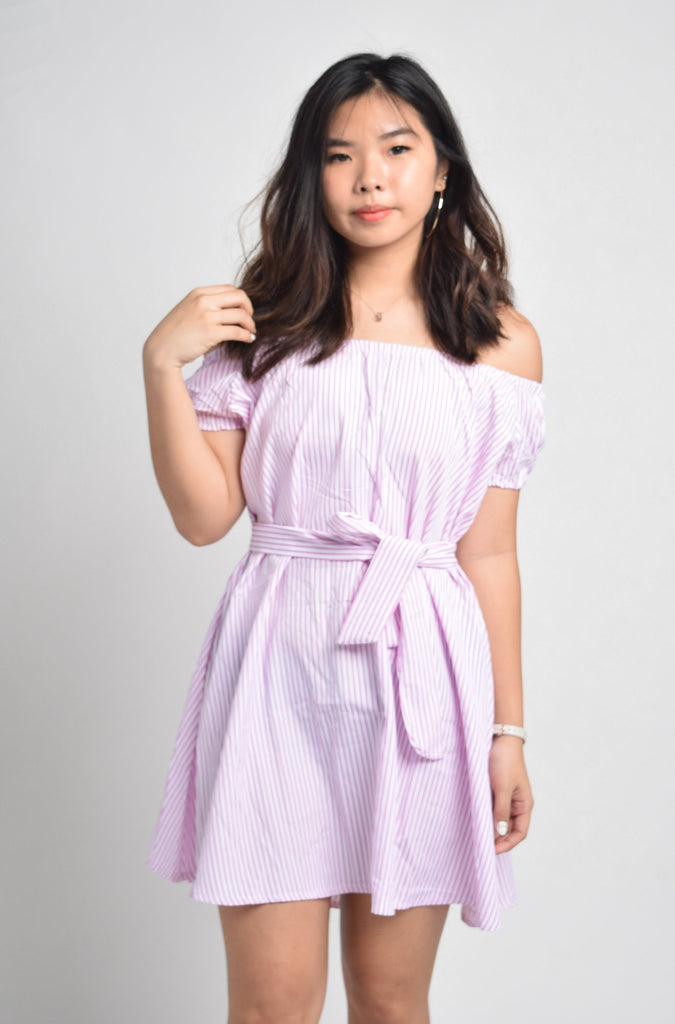 Leanna Striped Belted Off Shoulder Dress
