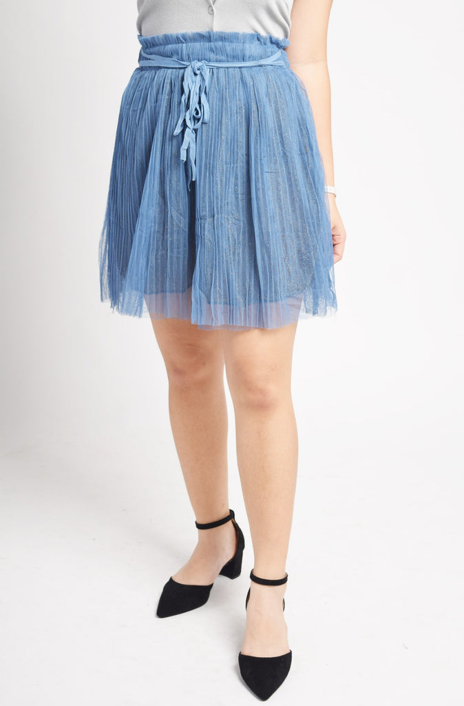 Mavelo Layered Pleated Front Ribbon Tie Skirt