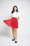 Ievita Pleated Satin Finish Skirt