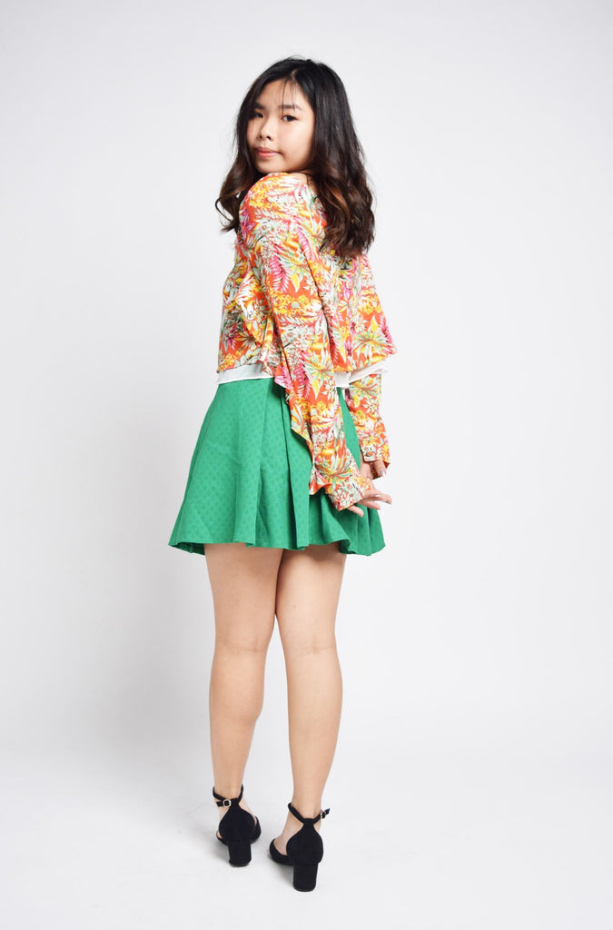 Julienne Ruffle Sleeves Tropical Blouse