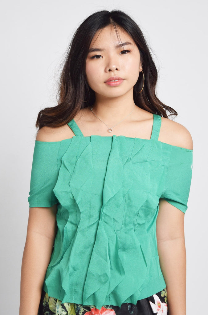 Jaimee Vintage Pleat and Ruffle Top