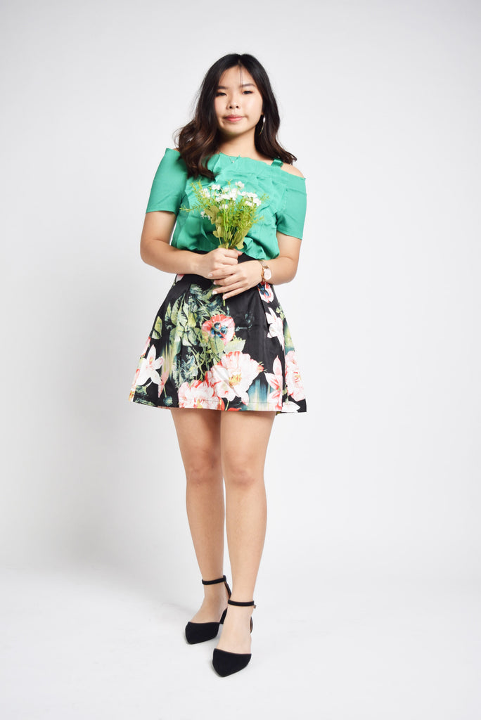 Janae Dark Floral Splash Skirt