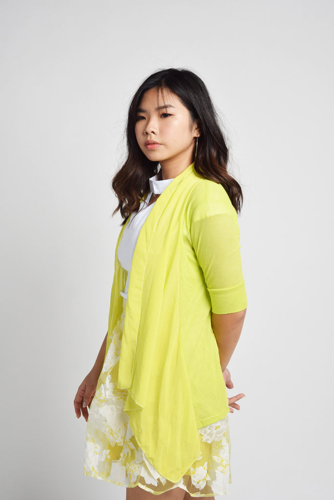 Grainne Lemon Yellow Back Belt Cardigan