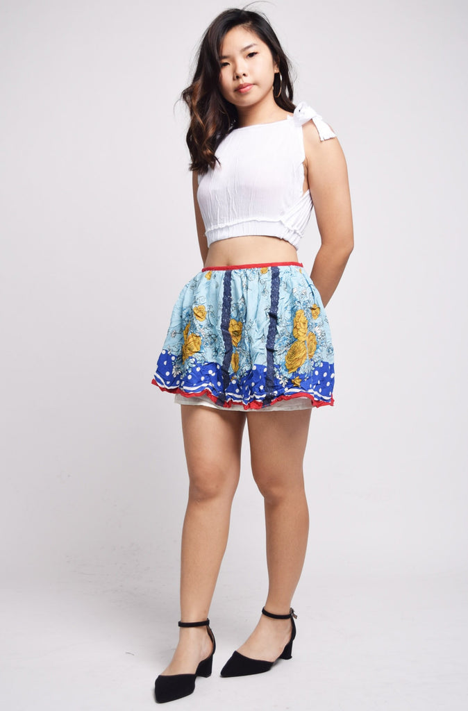 Olviera French Vintage Lace And Florals Patchwork Skirt