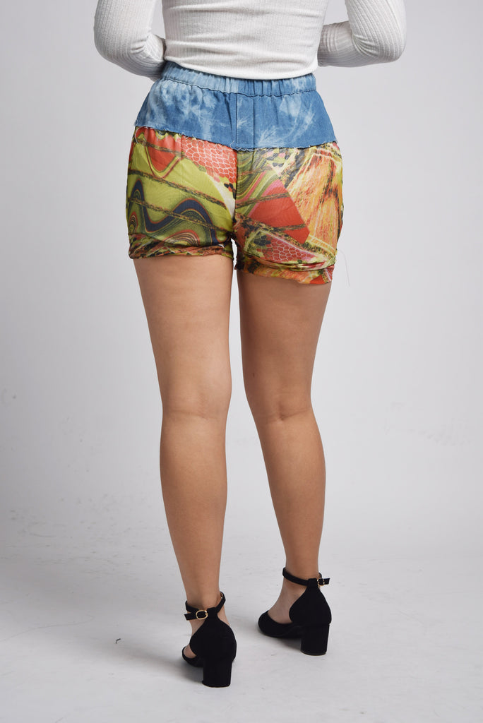 Grethe Butterfly Rock Prism Denim Mix Patchwork Shorts