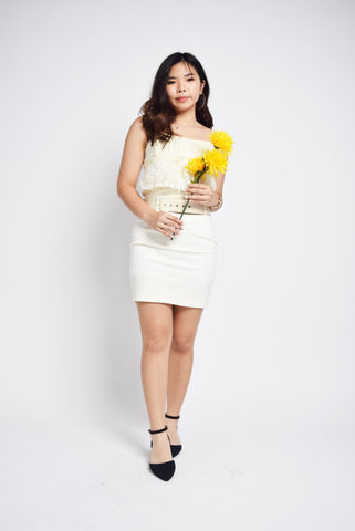 Ryann Cream Marigolds Peplum Top