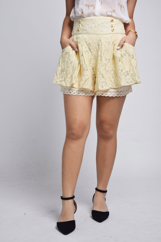 Gessina Button Line Broderie Anglaise Shorts
