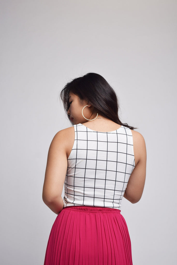 Inaya Brand Cartoon Grid Crop Top