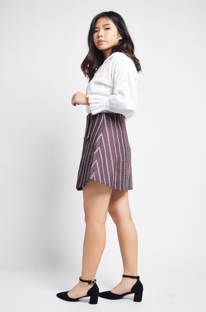 Rhiannon Striped Skirt With Zip Detail