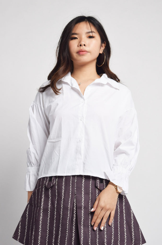 Raleigh White Frilled Sleeves Top
