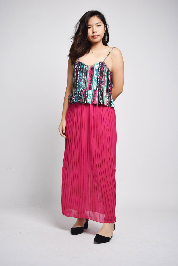 Hevanna Multicolor Tribal Stripes Peplum Top