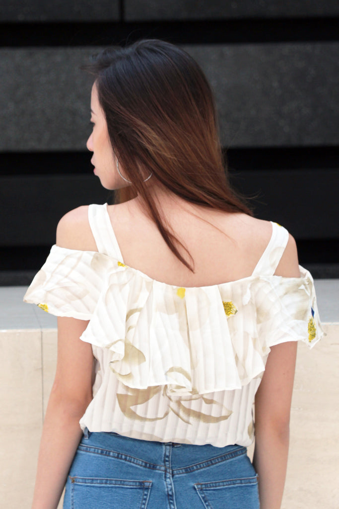 Chay Abstract Orchids Shoulder Cutout Top