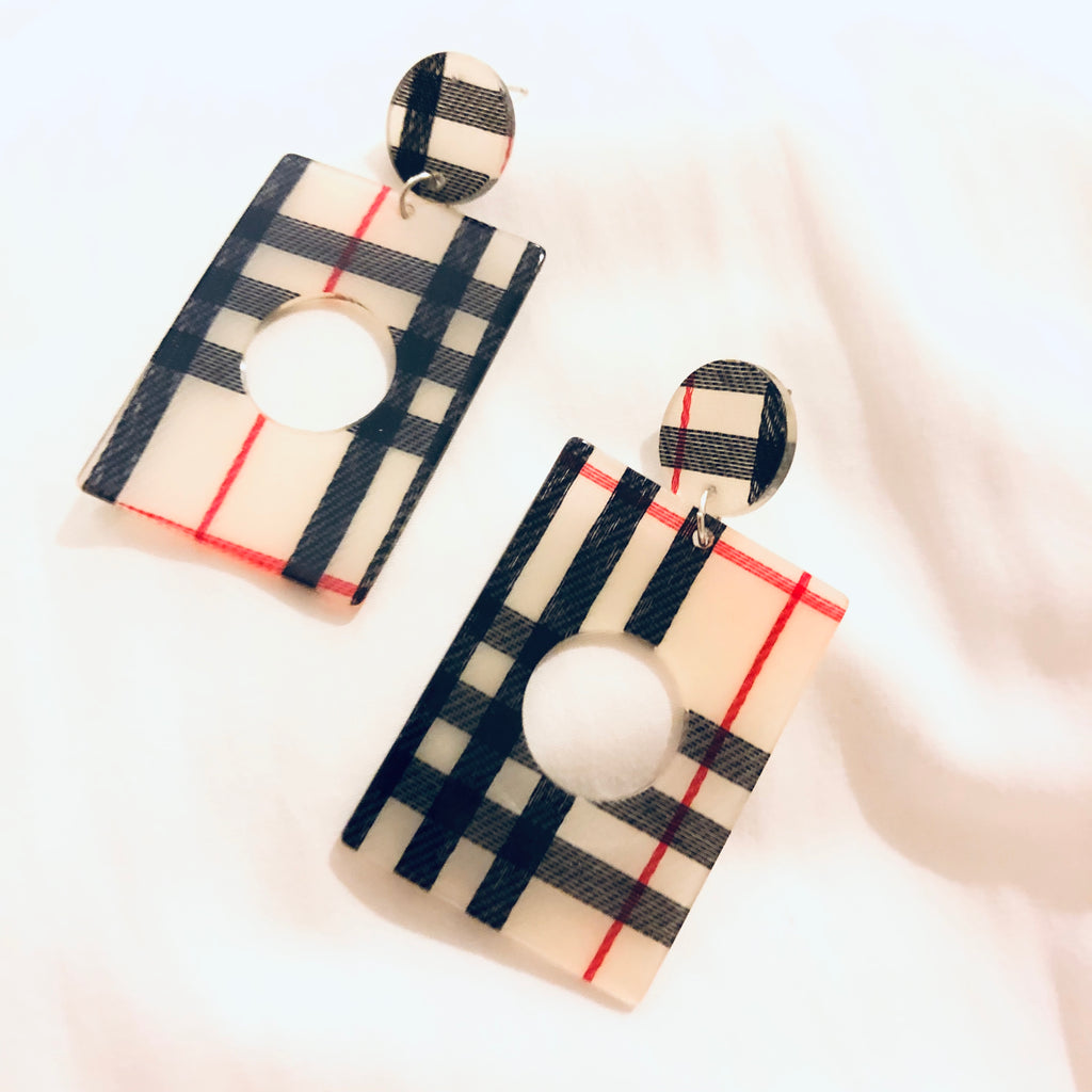 Ryder Plaid Rectangle Earrings