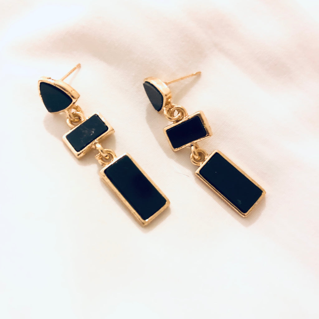 Shanelle Black Cascade Drop Earrings