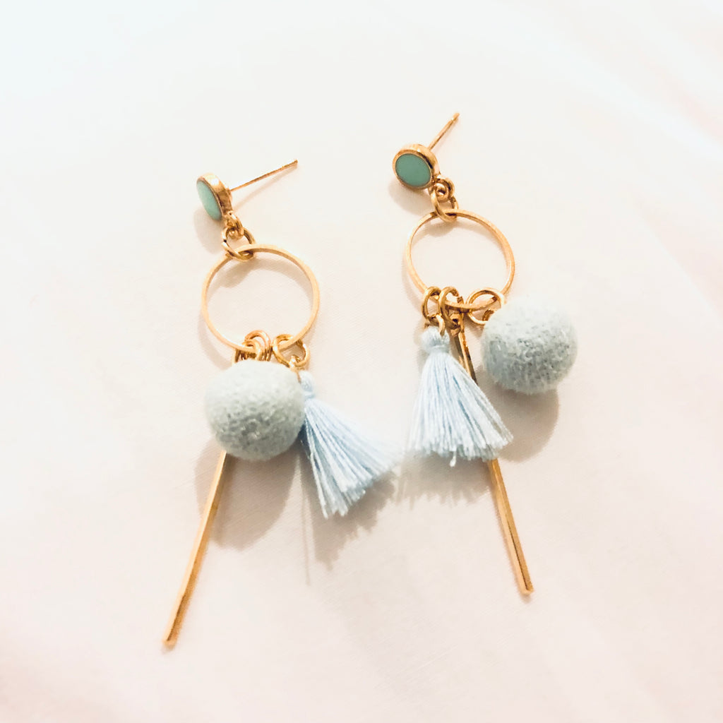 Queenlyn Pastel Pompom and Tassel Earrings