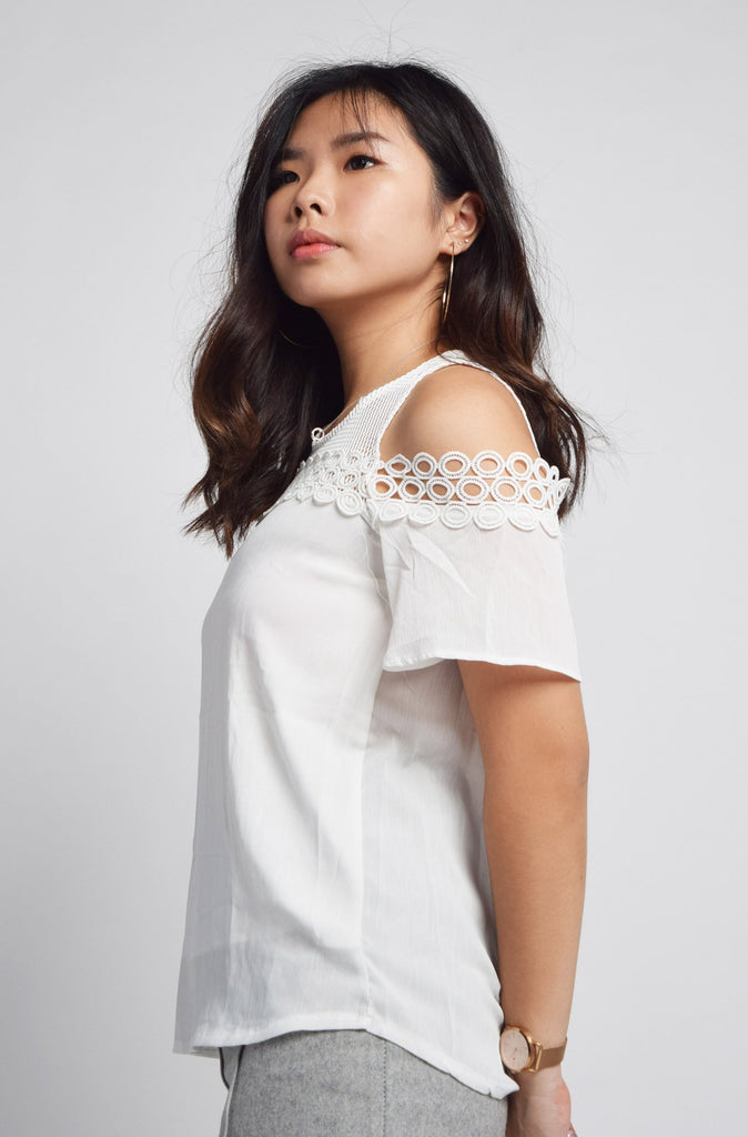 Reyna Mesh Sleeves Eyelet Lace Neckline Top