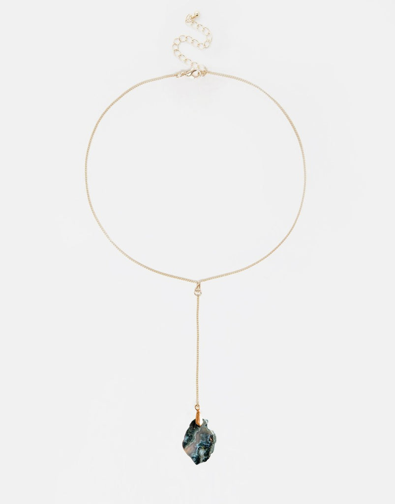 Clandestine Stone Lariat Necklace