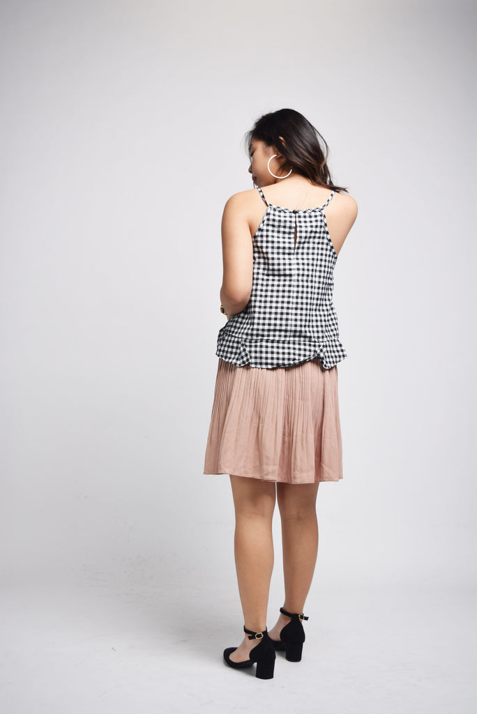 Xander Checkered Monochrome Grid Top