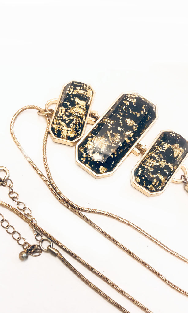 Bolivia Gold Flakes Black Gem Layered Statement Necklace