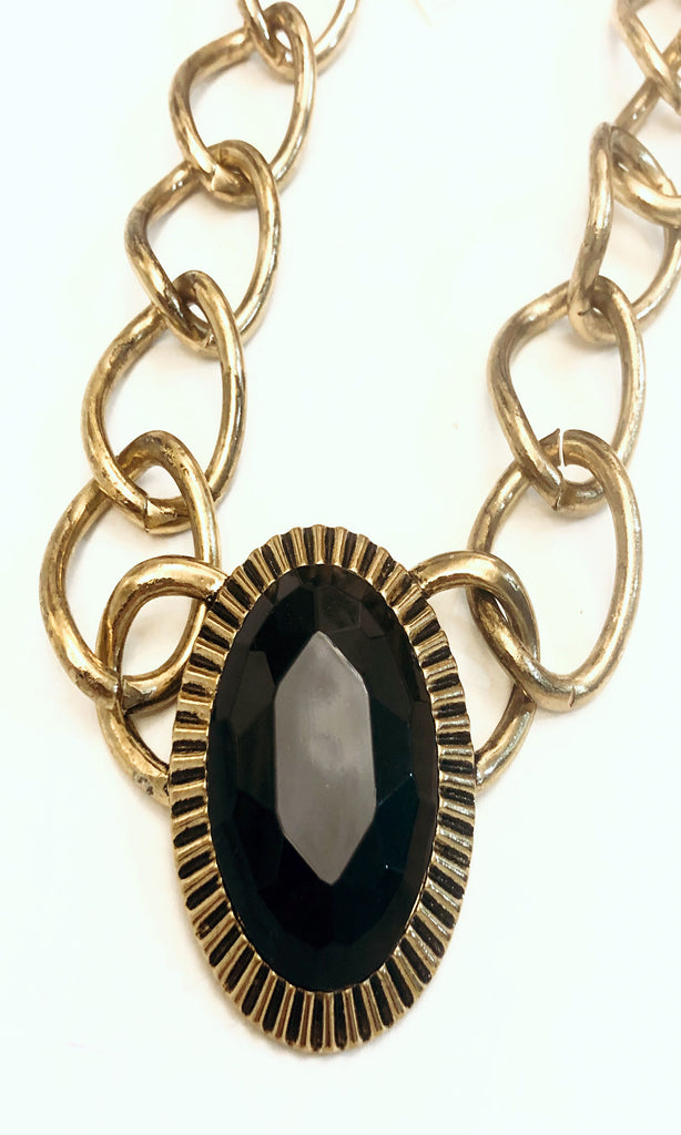 Condenast Black Gem Centerpiece Necklace