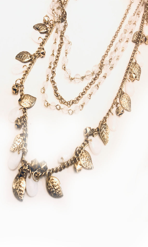 Areva Leaf Layered Charm Necklace