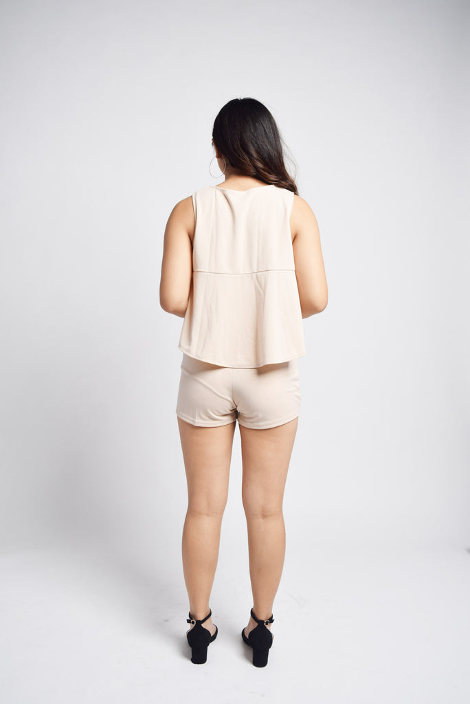 Bricasse Cream Lines Top and Shorts Set