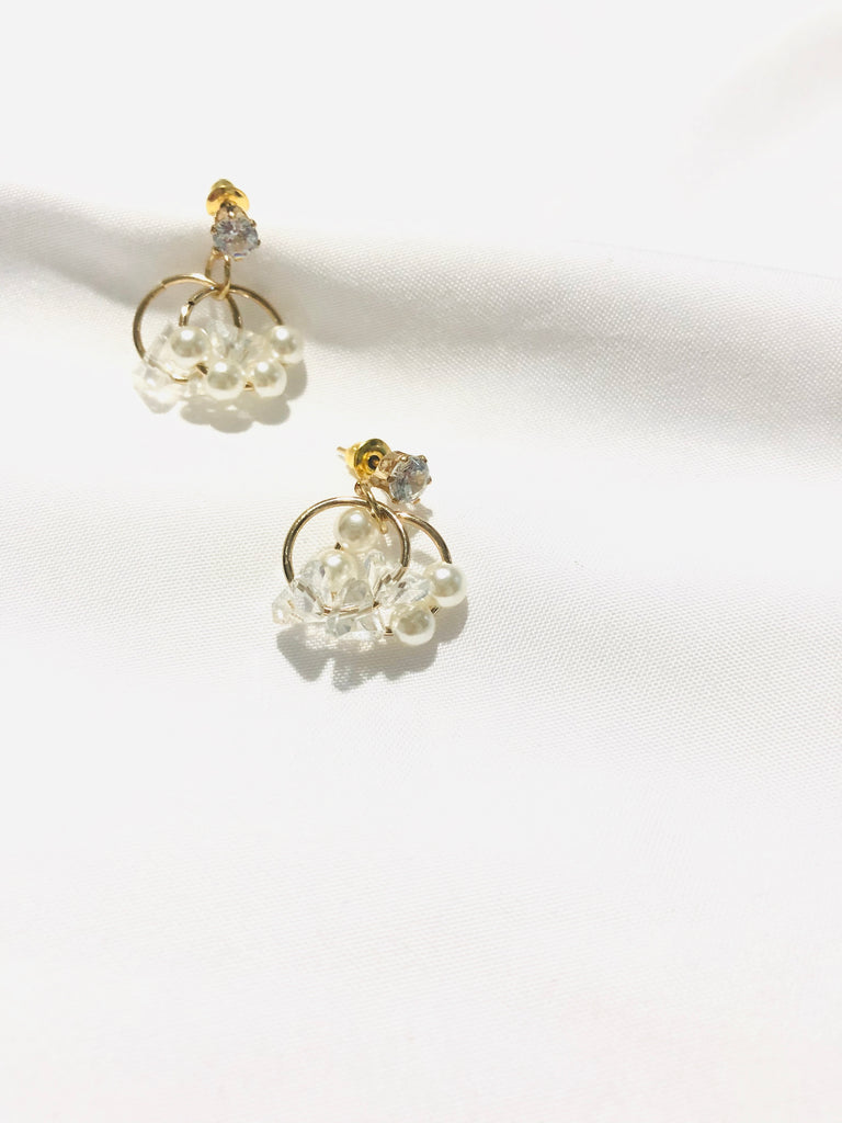 Oriden Pearl And Crystal Embellishments Earrings